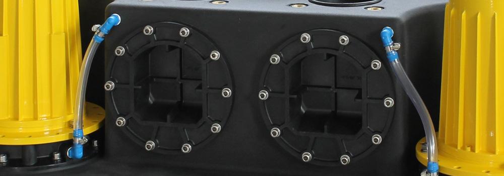 Abwasserhebeanlage als Doppelanlage vom Typ Kompaktboy Doppel zur Entwässerung von fäkalienhaltigen Abwasser
